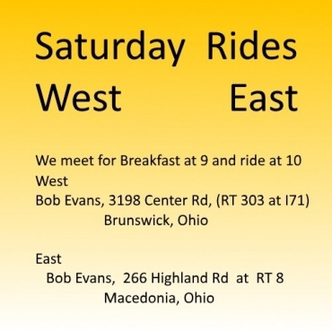 Saturday Rides resume May 2020